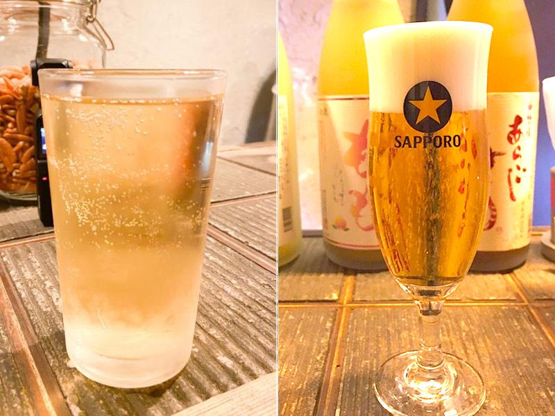 氷無しハイボールとビール